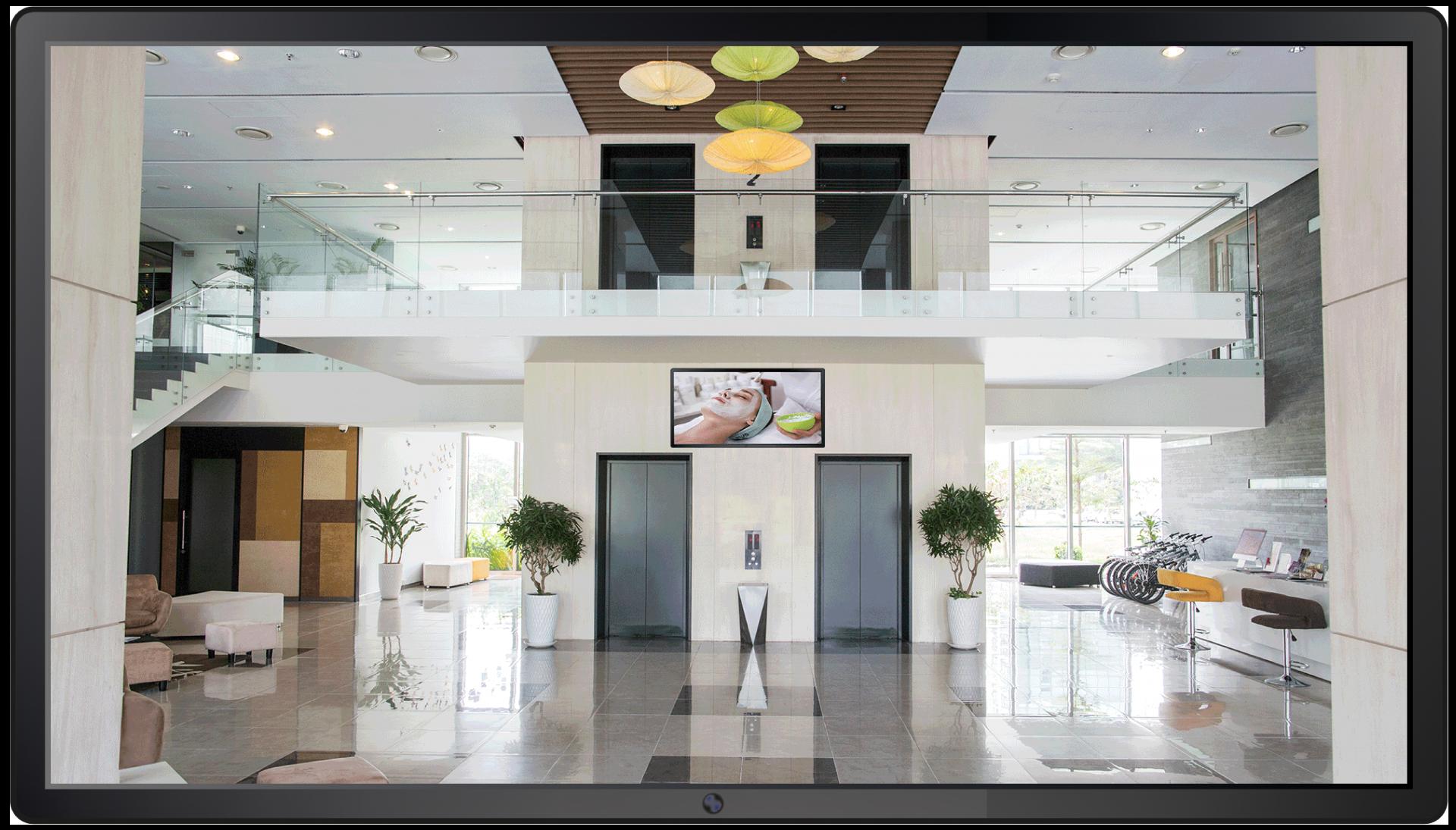 ecran publicitaire hall accueil hotel